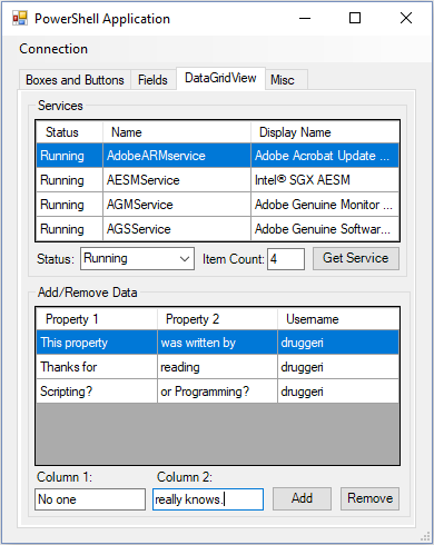 remove datagridview item – Powershell Tools